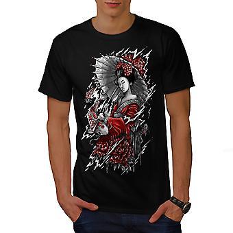 Geisha Umbrella Japan Men BlackT-shirt   Wellcoda