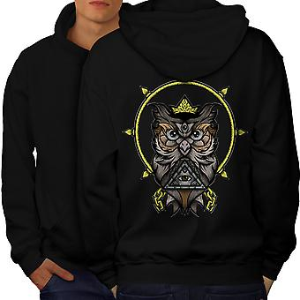 Watching Owl Men BlackHoodie Back | Wellcoda