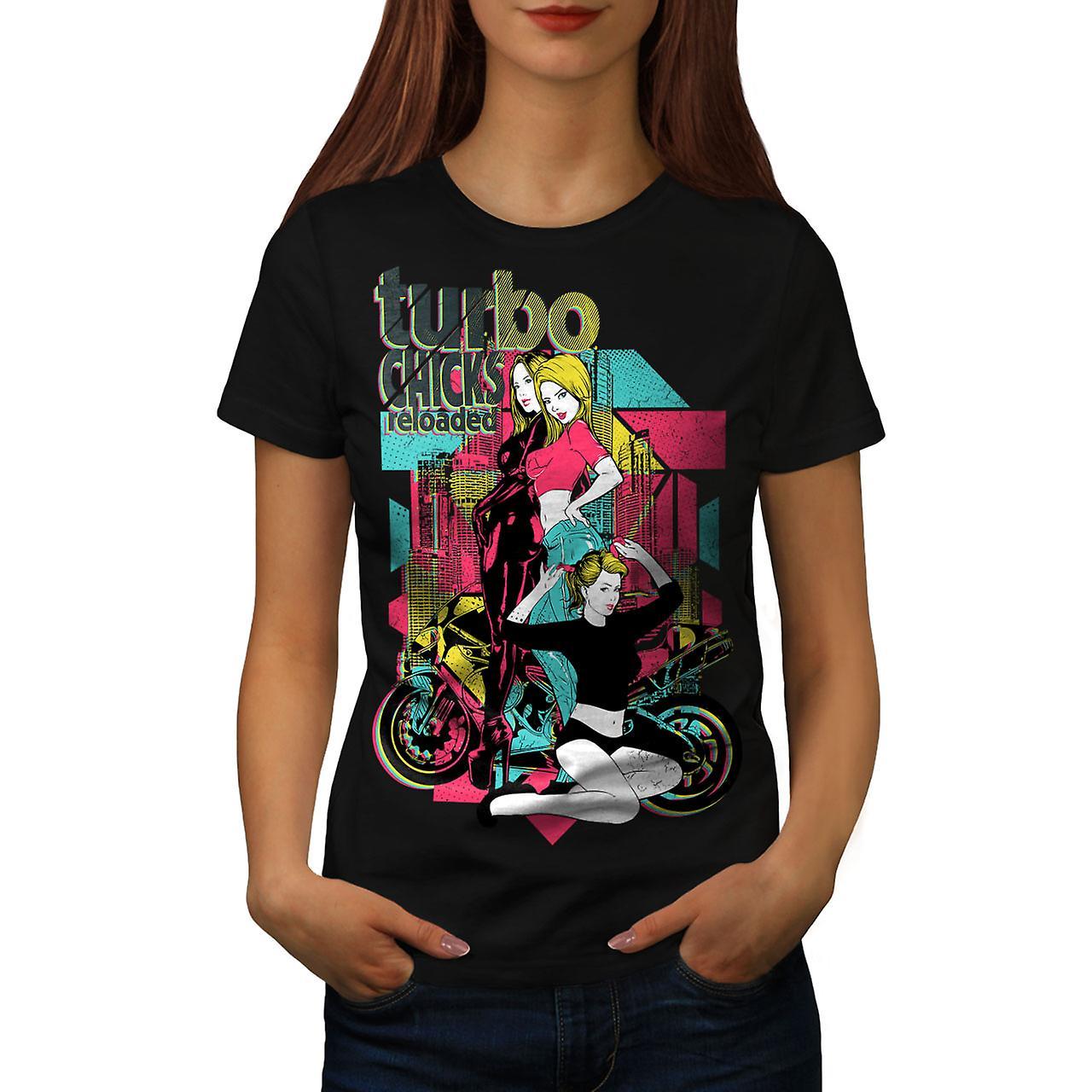 Turbo Chicks Cool Biker Women Black T-shirt | Wellcoda