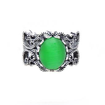 Mallory Oval Shape Lab Created Fire Green Opal Ring - Ginger Lyne Collection