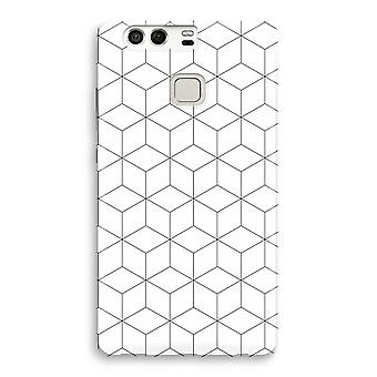 Huawei P9 Full Print Case - Cubes black and white