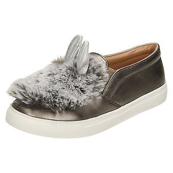 Ragazze posto sulla pelliccia & Glitter Bunny orecchio scarpe H2459
