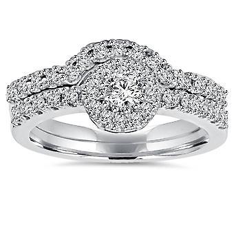 1ct diamant engasjement matchende giftering 14K satt