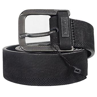 Replay Am2499 Black Leather Belt