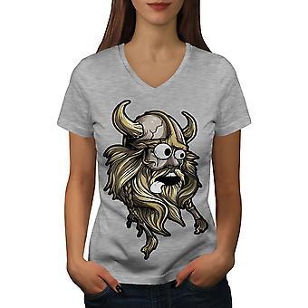 Scared North Joke Women GreyV-Neck T-shirt | Wellcoda