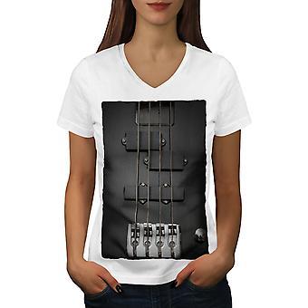 Old Guitar Strings Women WhiteV-Neck T-shirt   Wellcoda