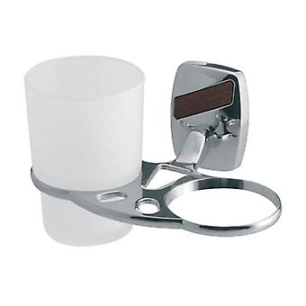 Double Tempered Glass Toothmug Toothbrush Cup Grip Modern Bathroom Chromed Zamak