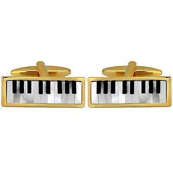 David Van Hagen Gold Plated Mother of Pearl and Onyx Keyboard Cufflinks - White/Black/Gold