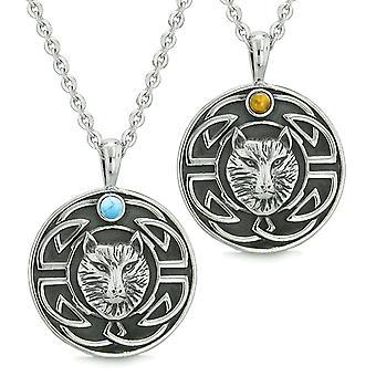 Amuletter kærlighed par eller bedste venner Celtic Viking Wolf sæt Tiger øje simuleret turkis halskæde