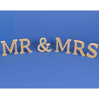 Medium 80mm Wooden MDF 'Mr & Mrs' Letters to Decorate | Wood Shapes for Crafts