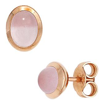 Studs 585 gold pink 2 Rose Quartz pink gold earrings