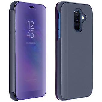 Flip Case, Mirror Case for Samsung Galaxy A6 Plus, Standing Cover - Purple