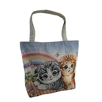 Colorful Rainbow Kittens Cotton Tapestry Tote Bag