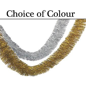 2.7m Long Tinsel Garland Christmas Tree Decoration - Choice of Colour