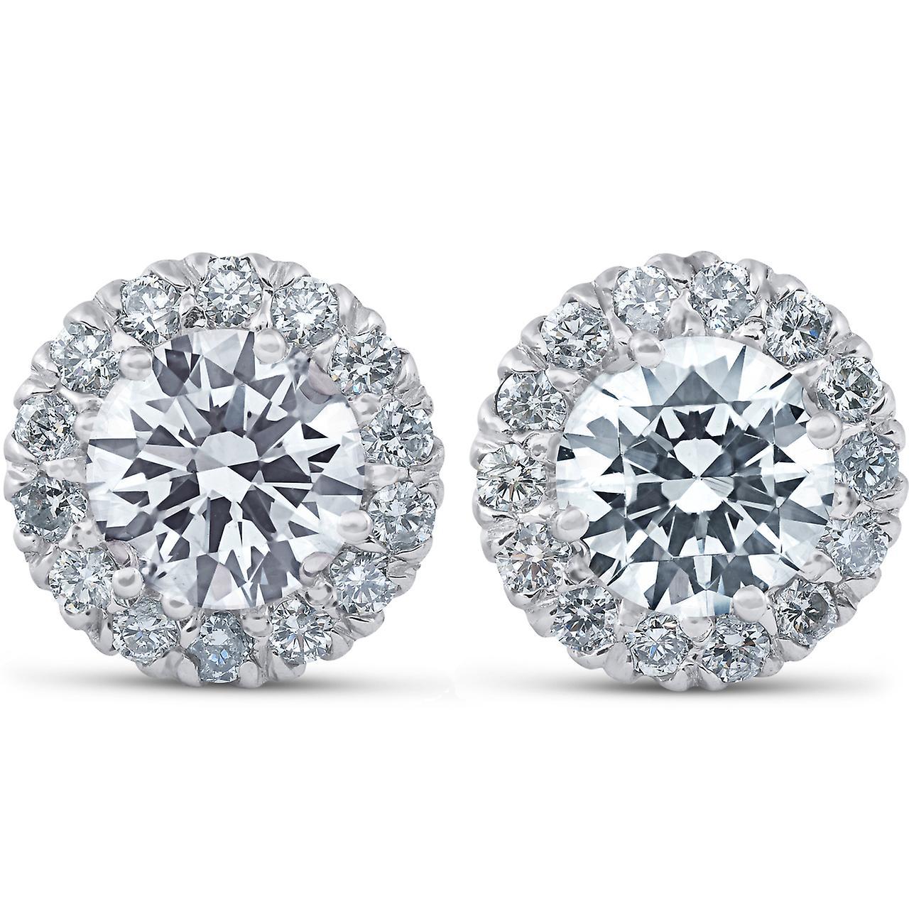 2 3 4 Ct Round Halo Diamond Studs 14k blanc or Enhanced 10.9mm