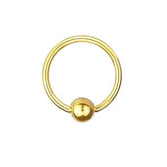 Chapado en oro BCR Piercing titanio 0,8 mm, anillo de cierre de la bola | Diámetro 6-12 mm