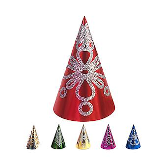Cone Hat Glitter Decorated 28cm - packs of 12 In Assorted Colours
