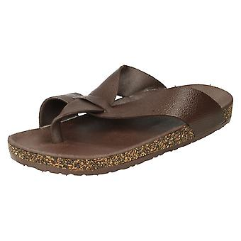 Men's Footbed Toepost Slip On Sandals With Cork Effect A0034 Grey Size UK 10/43