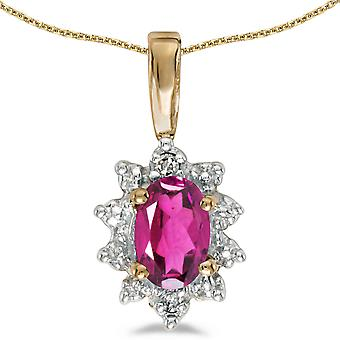 10k Yellow Gold Oval Pink Topaz And Diamond Pendant with 16