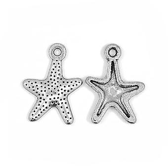 Packet 30 x Antique Silver Tibetan 16mm Starfish Charm/Pendant ZX13665