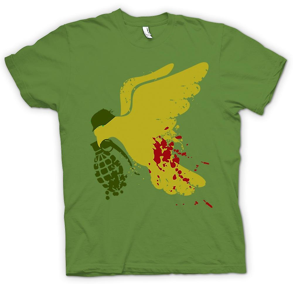 Mens T-shirt - Peace Not War Dove Grenade - Funny
