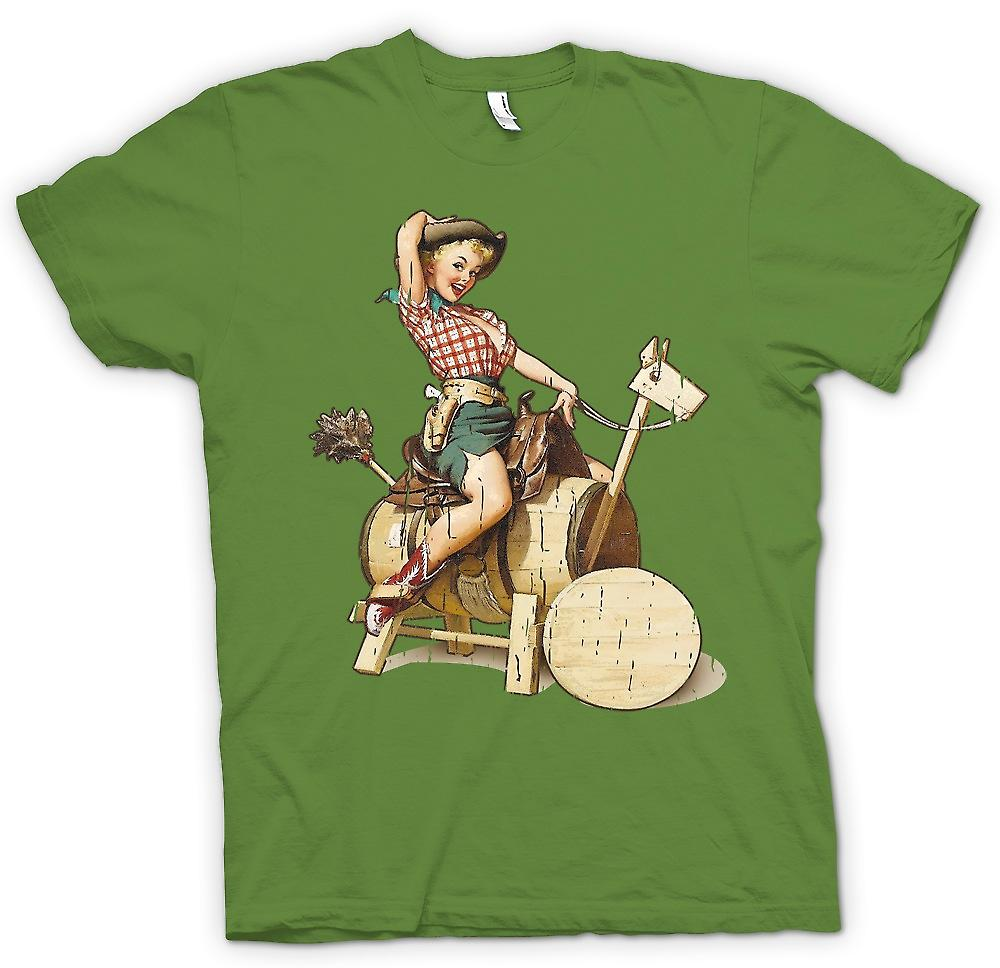 Rétro - Vintage Cow Girl Pin Up - Mens T-shirt