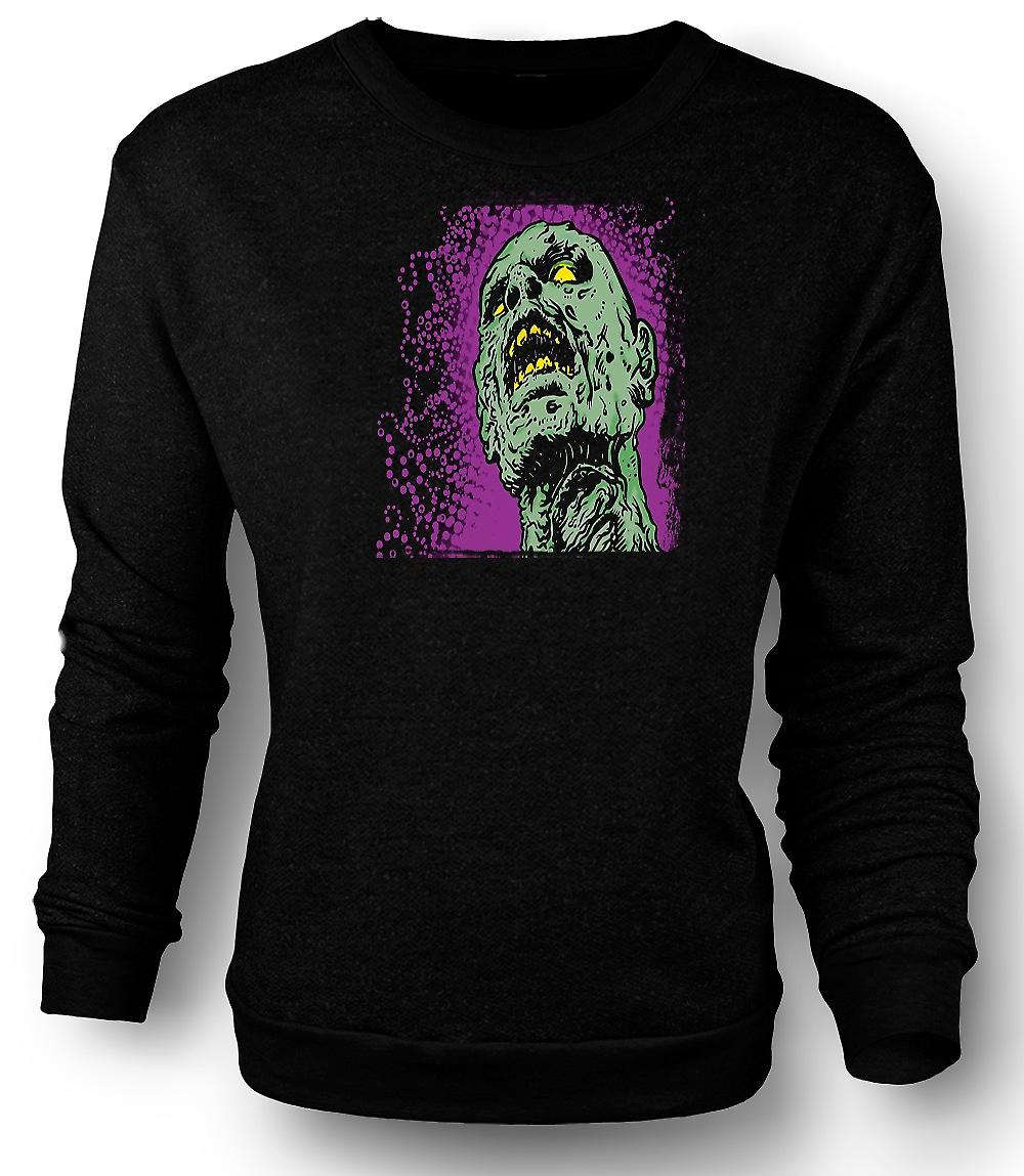 Mens Sweatshirt Pop Art - tête de Zombie - Cool