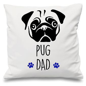 Pug Dad White Cushion Cover 16