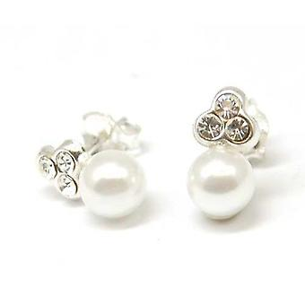 The Olivia Collection S. Silver Cream Pearl With Cz Earrings Plus Pouch