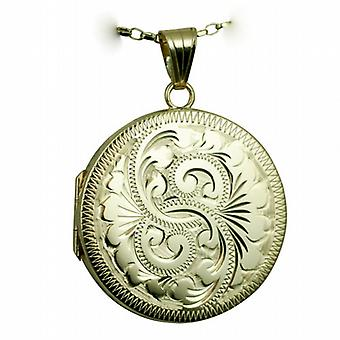 9ct Gold 29mm flat round hand engraved Locket with a belcher Chain 16 inches Only Suitable for Children