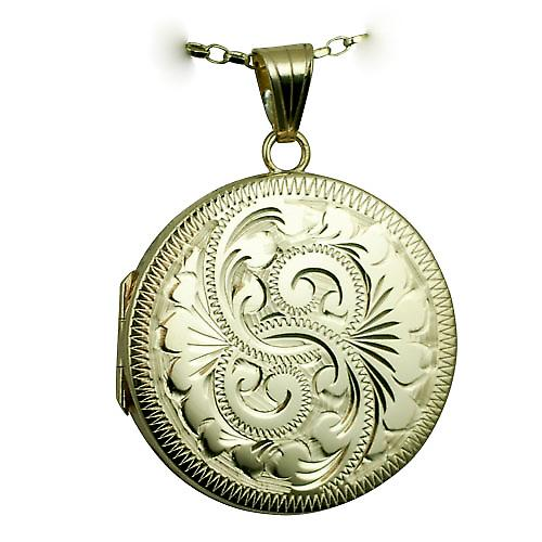 9ct Gold 29mm flat round hand engraved Locket with a belcher Chain 18 inches