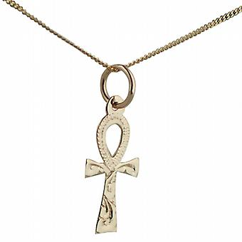 9ct Gold 17x9mm plain Ankh or Peace Cross with a curb Chain 16 inches Only Suitable for Children