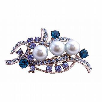 Blå perler & Aquamarine krystaller sølv brude kjole brosje