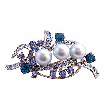 Blue Pearls & Aquamarine Crystals Silver Bridal Dress Brooch