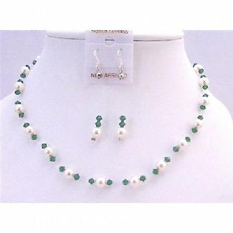 Clover Green Crystals White Pearls Swarovski Handcrafted Necklace Set