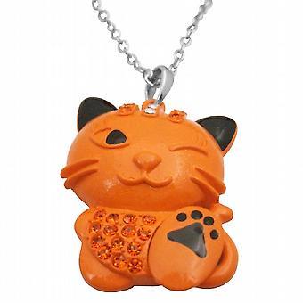 HipHop kat Orange emalje kat brand Opal krystaller kat vedhæng halskæde