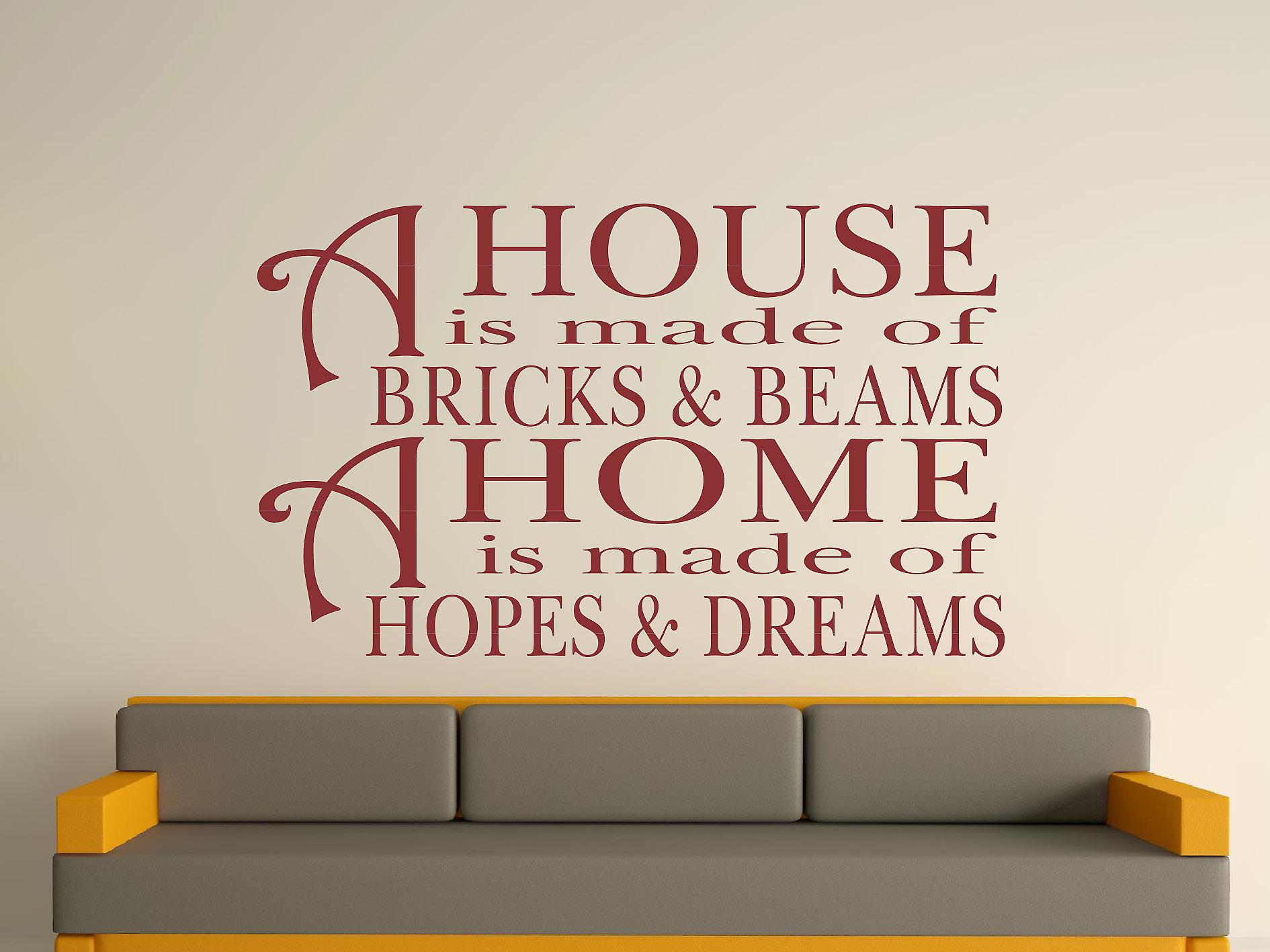 A House Is Made Of Bricks And Beams v2 Wall Art Sticker - Burgundy