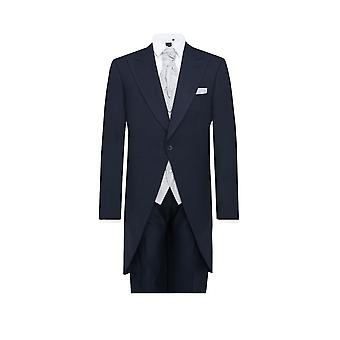 Dobell Mens Navy Herringbone 2 Piece Morning Suit Regular Fit Matching Trousers
