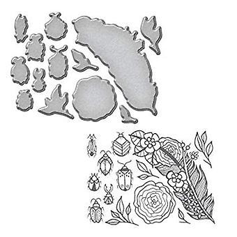 Spellbinders Feather and Beetles Stamp And Die Set (SDS-061)