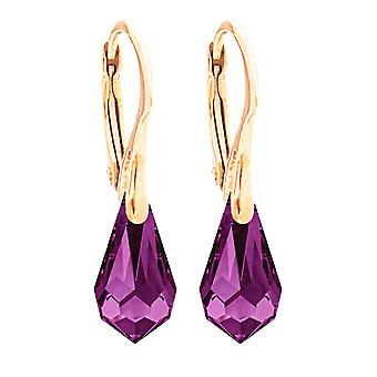 Ladies 11 x 5.5mm Amethyst Drop Pendant Crystals From Swaovski Earrings