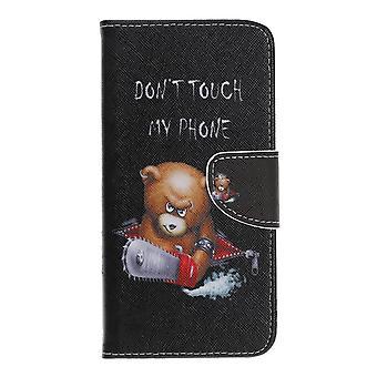 Samsung Galaxy A40 Geldbörse Beutel-Angry Bear und seine Warnung