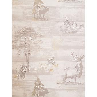 K2 Oakley Grey Woodland Animal Print Stag Bear Pine Cone Gold Metallic Wallpaper