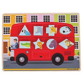 Bigjigs Toys Wooden Shape Sorting Bus Puzzle Jigsaw Educational Learning