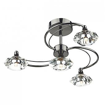 Luther 4 Light Semi Flush complet avec Crystal Glass Black Chrome