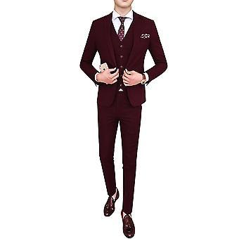 Allthemen Mens 3pcs Silm fit Solid 3 Pieces Suit( Blazer &Vest &Pants )