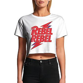 Vrouwen David Bowie Rebel Rebel bijgesneden wit T-shirt