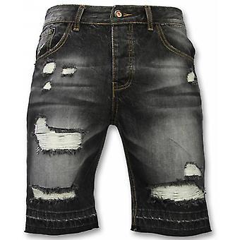 Men's short trousers-Slim Fit Ripped Shorts-Black