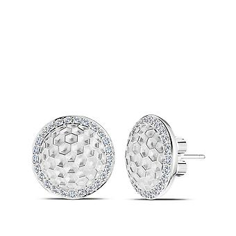 PGA Tour Diamond Halo Golf Ball Pattern Stud Earrings