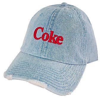 Coca-Cola Coke Distressed Light Denim Adjustable Hat