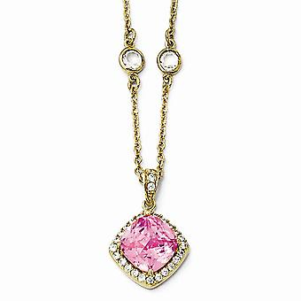 Gold-Flashed 925 Sterling Silver Fancy Lobster Closure Rose-cut Pink Cubic Zirconia Square Necklace - 18 Inch